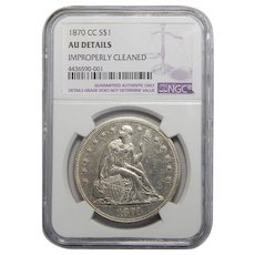 1870-CC Ngc AU Details, Improperly Cleaned Seated Liberty Dollar