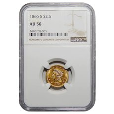 1866-S Ngc AU58 $2.50 Liberty Head Gold