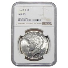 1928 Ngc MS63 Peace Dollar