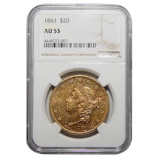 1861 Ngc AU53 $20 Liberty Head Gold