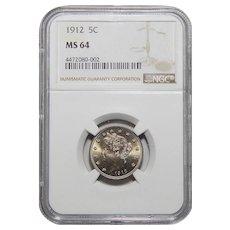 "1912 Ngc MS64 Liberty ""V"" Nickel"