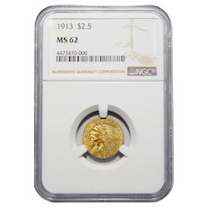 1913 Ngc MS62 $2.50 Liberty Head Gold