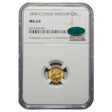 1849 Ngc/Cac MS64 Closed Wreath Gold Dollar