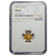 1853-O Ngc MS62 Gold Dollar
