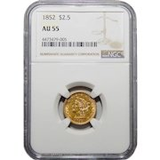 1852 Ngc AU55 $2.50 Liberty Head Gold