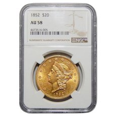 1852 Ngc AU58 $20 Liberty Head Gold