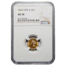 1854 Ngc AU58 Type 2 Gold Dollar