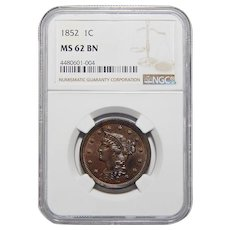 1852 Ngc MS62BN Braided Hair Large Cent