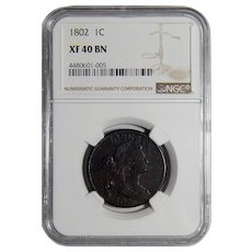 1802 Ngc XF40BN Draped Bust Large Cent