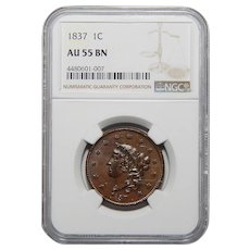 1837 NgcAU55BN Medium Letters Coronet Head Large Cent