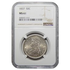 1837 Ngc MS61 Reeded Edge Capped Bust Half Dollar