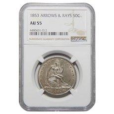 1853 Ngc AU55 Arrows and Rays Liberty Seated Half Dollar