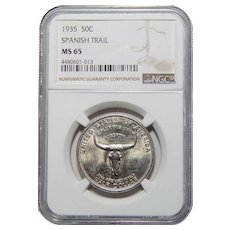 1935 Ngc MS65 Spanish Trail Half Dollar
