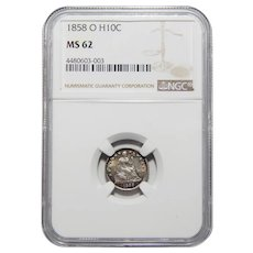 1858-O Ngc MS62 Liberty Seated Half Dime