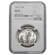 1943-S Ngc MS63 Walking Liberty Half Dollar