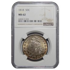 1818 Ngc MS62 Capped Bust Half Dollar