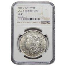 1888-O Ngc XF45 Doubled Die Obverse, VAM-4 Hot Lips Morgan Dollar