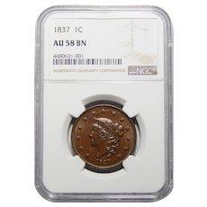 1837 Ngc AU58BN Coronet Head Large Cent