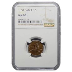 1857 Ngc MS62 Flying Eagle Cent