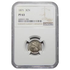 1871 Ngc PF63 Three-Cent Nickel