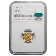 1889 Ngc/Cac MS64 Gold Dollar