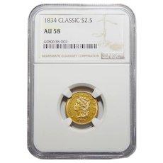 1834 Ngc AU58 $2.50 Classic Head Gold