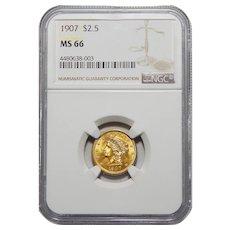 1907 Ngc MS66 $2.50 Liberty Head Gold