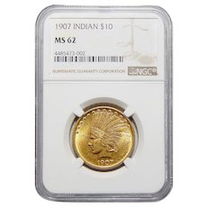 1907 Ngc MS62 $10 No Motto Indian Gold