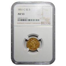 1851-C Ngc AU53 $2.50 Liberty Head Gold