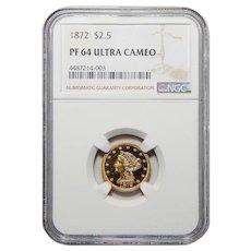 1872 Ngc PF64 Ultra Cameo $2.50 Liberty Head Gold