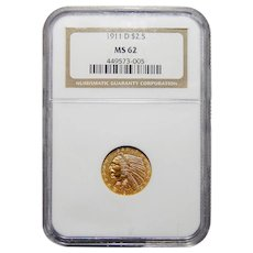 1911-D Ngc MS62 $2.50 Strong D Indian Gold