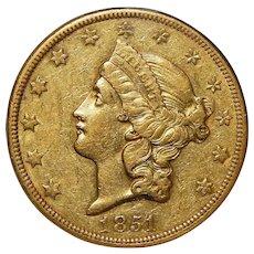 1851-O Ngc AU50 $20 Liberty Head Gold