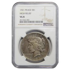 1921 Ngc VG8 High Relief Peace Dollar