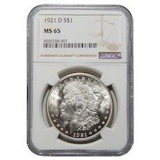 1921-D Ngc MS65 Morgan Dollar