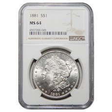 1881 Ngc MS64 Morgan Dollar
