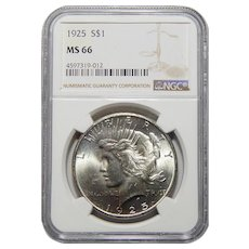 1925 Ngc MS66 Peace Dollar