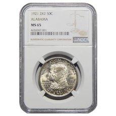 1921 Ngc MS65 Alabama 2X2 Half Dollar