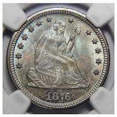 1876-CC Ngc MS66 Twenty Cent Piece