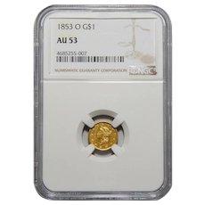 1853-O Ngc AU53 Gold Dollar