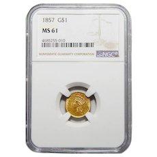 1857 Ngc MS61 Gold Dollar