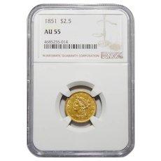 1851 Ngc AU55 $2.50 Liberty Gold