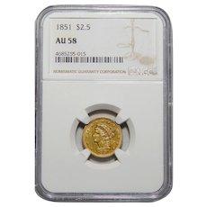 1851 Ngc AU58 $2.50 Liberty Gold