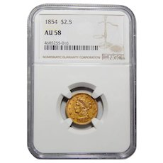 1854 Ngc AU58 $2.50 Liberty Gold