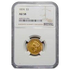 1874 Ngc AU58 $3 Gold