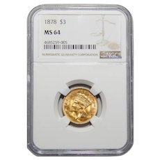 1878 Ngc MS64 $3 Gold