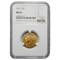 1911 Ngc MS61 $5 Indian Gold