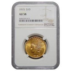 1915 Ngc AU58 $10 Indian Head Gold