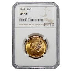 1932 Ngc MS64+ $10 Indian Gold