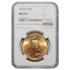 1923-D Ngc MS64+ $20 Saint Gaudens