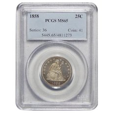 1858 Pcgs MS65 Liberty Seated Quarter